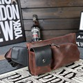 Vintage PU leather waist packs fanny pack Fashion men messenger small travel bag for men Pocket s waist wallet 2016