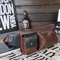 Vintage PU leather waist packs fanny pack Fashion men messenger small travel bag for men Pocket s waist wallet 2016