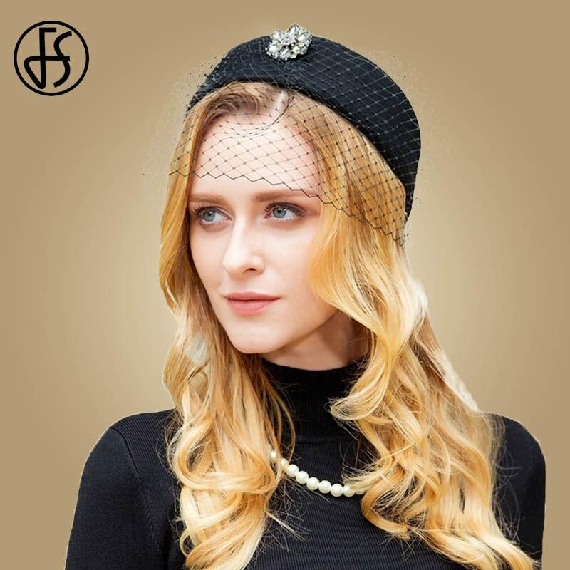 FS Fascinator Hats Black Wool Pillbox Hat For Women With Veil Winter Wedding Derby Hat Vintage