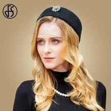 Женская фетровая шляпка-«таблетка» с вуалью FS, винтажная шерстяная шляпка для церкви и торжественных случаев, черного цвета, на зиму