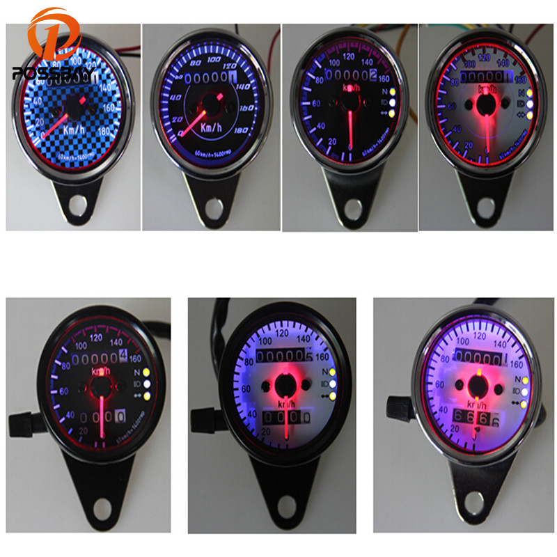 POSSBAY 7 Styles Universal Motorcycle Odometer Tachometer Speedometer Tacho Gauge For Cruiser Cafe Racer Motorbike Thermometer