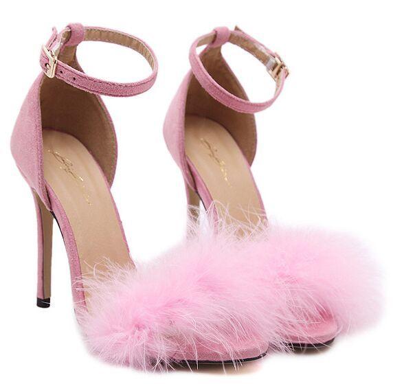 Mulheres Sapatos tamanho 4 ~ 9 De Penas Cor de Rosa 2017 Vinho Vermelho Verão sapatos de Salto Alto Partido Sapatos Mulheres Bombas zapatos mujer (Chenk Comprimento Do Pé)