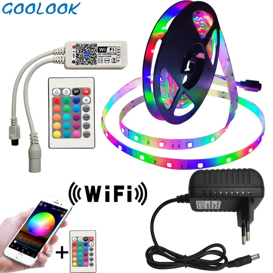 Luz de tira conduzida 2835 smd rgb fita 5 m 10 m 15 m 20 dc12v 3528 rgb flexível led faixa fita diodo + 24key controlador + adaptador ue