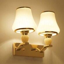 HGhomeart Luminaria Modern Glass Sconces 110V-220V E27 Wall Light Bedside Lamp Fixtures Reading Lamps Gold Sconce