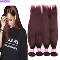7a 99j Peruvian straight virgin hair 3 bundle deals,  24 inch red remy human hair extension silky straight weave Cabelo humano