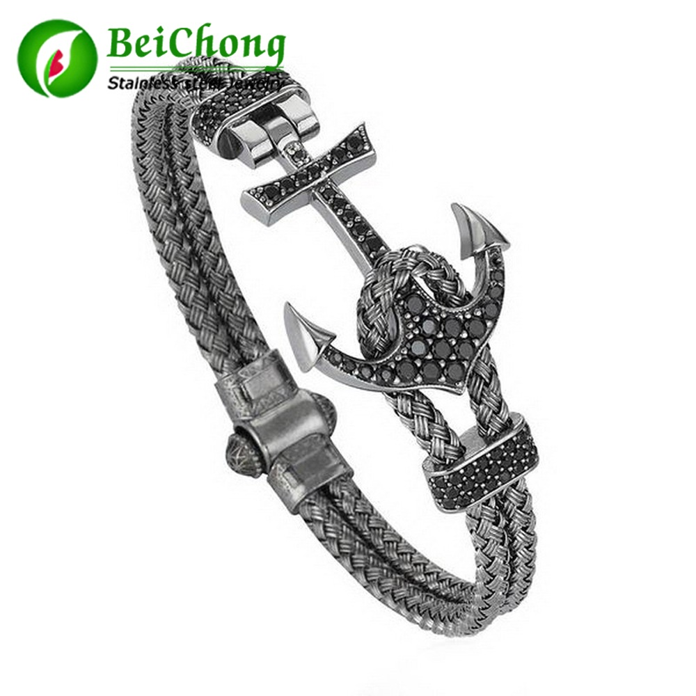 (10 pieces/lot) Atolyestone Artillery Bangles WIith Anchor magnetic clasp Unique Bracelet in Stainless Steel Anchor Bracelet Men