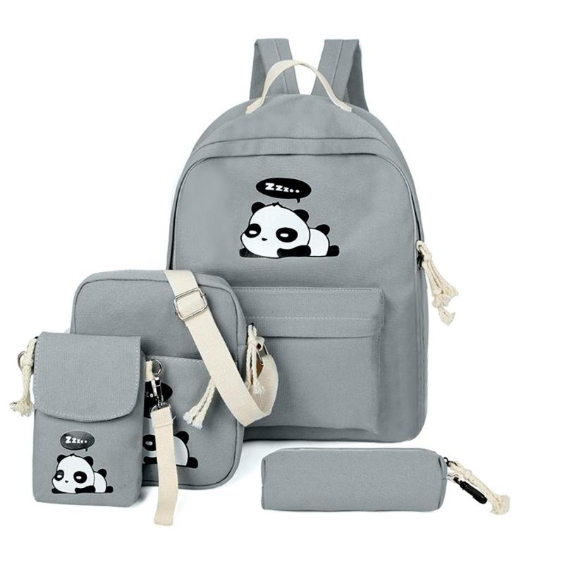 4pcs/Set Cute Cartoon Cats Printed Women Backpacks Schoolbags Women Canvas Cartoon Composite Bags Student Travel Totes Rucksack