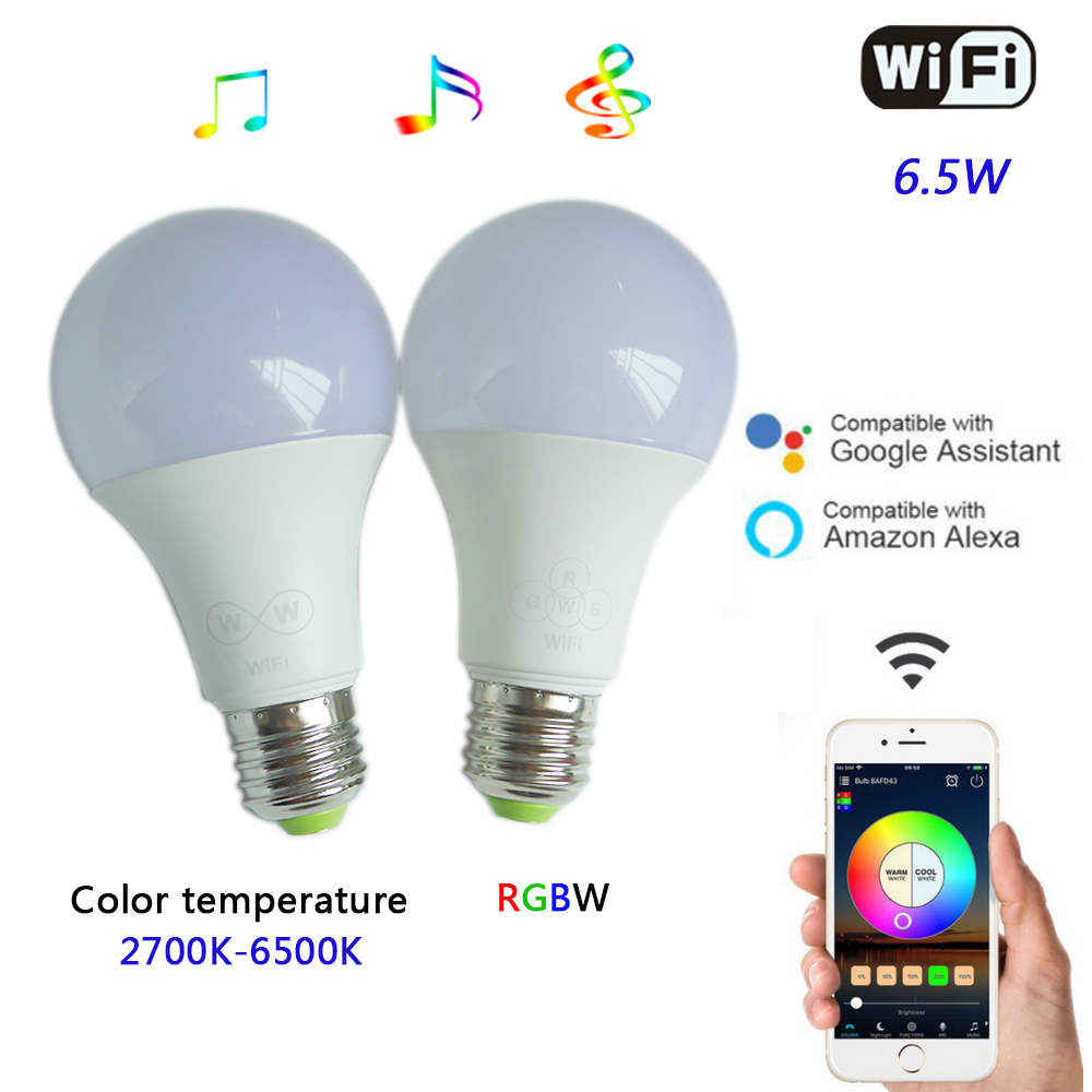 6.5W WiFi Smart LED Bulb E27 Wifi APP Remote Control Color temperature/RGBW Timing Light Bulb for andriod 2.3 or IOS8.0 & above wireless wifi control smart light bulb e27 base type studio and exhibition lighting remote control light bulb app control led