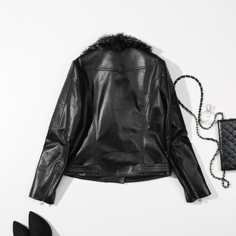 Col Mouton Véritable Bomber Fourrure Vêtements Veste D'hiver Laine Hiver Manteau 2018 En Réel Femmes De Peau Noir Dames Cuir Punk q1xBAx