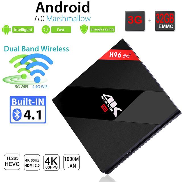 3 GB 32 GB S912 H96 Pro + Android 6.0 Caixa De Tv Amlogic Octa núcleo Inteligente Media Player 2.4G/5.8 GHz WiFi Bluetooth 4.1 UHD 4 K 1000 M LAN