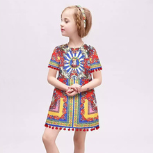 WL.MONSOON Girls Dress 2016 Brand Kids Clothes Girls Costumes Princess Dress Carretto Pattern Baby Girl Dresses Children
