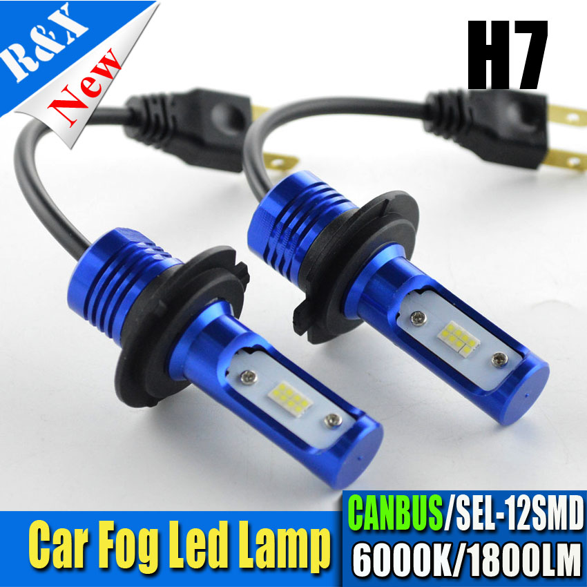 2X Canbus SEL Chips 6000K White H7 H11 9005 9006 12V 24V Car DRL Fog Bulb Automobile H7 Led Headlight 1800lm Fan-less Lamps