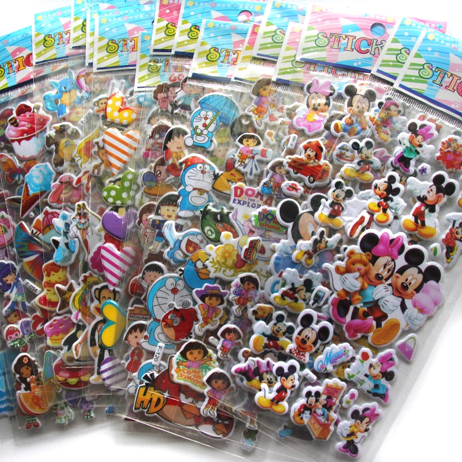 50 Sheets/lot 3D Puffy Bubble Stickers Mixed Cartoon Mickey Cars Spiderman Waterpoof DIY Children Kids Boy Girl Toy Hot Sale