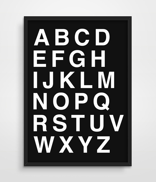 Digital print alphabet scandinavian minimalism typography letters office studio poster simple black white canvas print painting