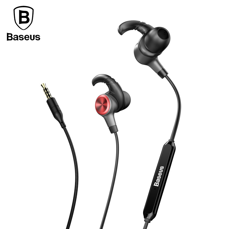 Baseus In-Ear Earphone Bass Sound Sports Running Headset Earphones Gaming Stereo music Earbuds With Mic for iPhone Samsung MP3