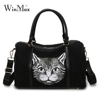 Winmax Large Capacity Canvas Travel Bags Women Cat Fashion Carry on Luggage Duffel Bags Travel Totes Overnight Shoulder Handbags