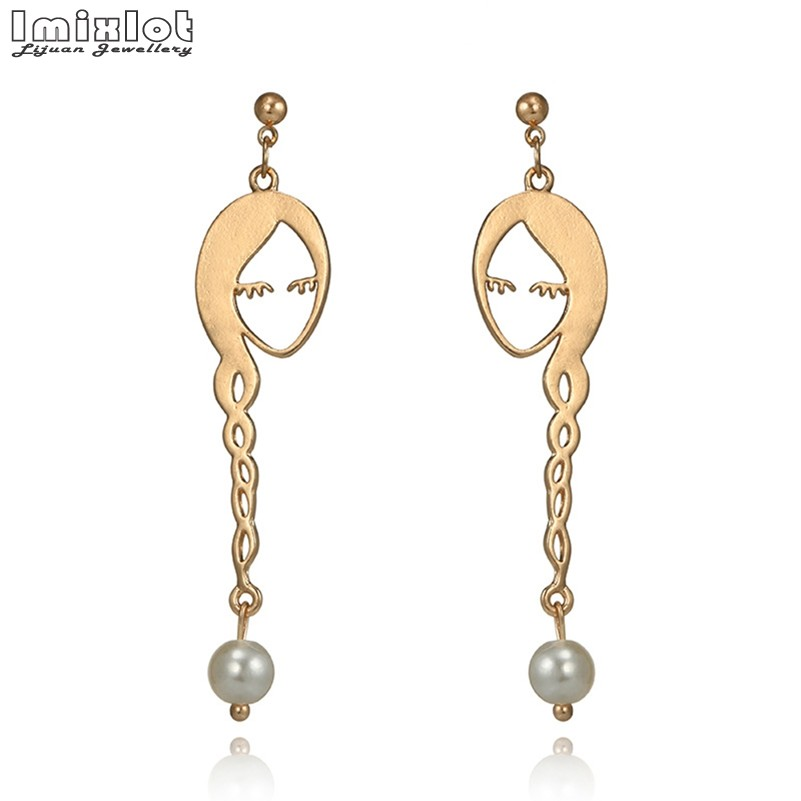 Unique Charming Golden Face Dangle Wire Earrings Girls Artsy Outline Pearl Beads Long Hair Earrings For Women Bijoux Geometric
