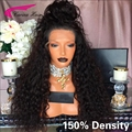 8A Grade Free Part Malaysian Water Tight Curly Lace Wig 150 Density Full Lace Human Hair Wigs Glueless with Baby Hair Around cap