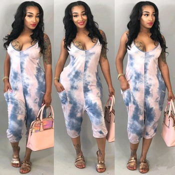 Casual New Style 2018 Sexy Romper Playsuit Spaghetti Strap Sleeveless Bodycon Milk Silk Tie-Dye Rompers Womens Jumpsuit Overalls
