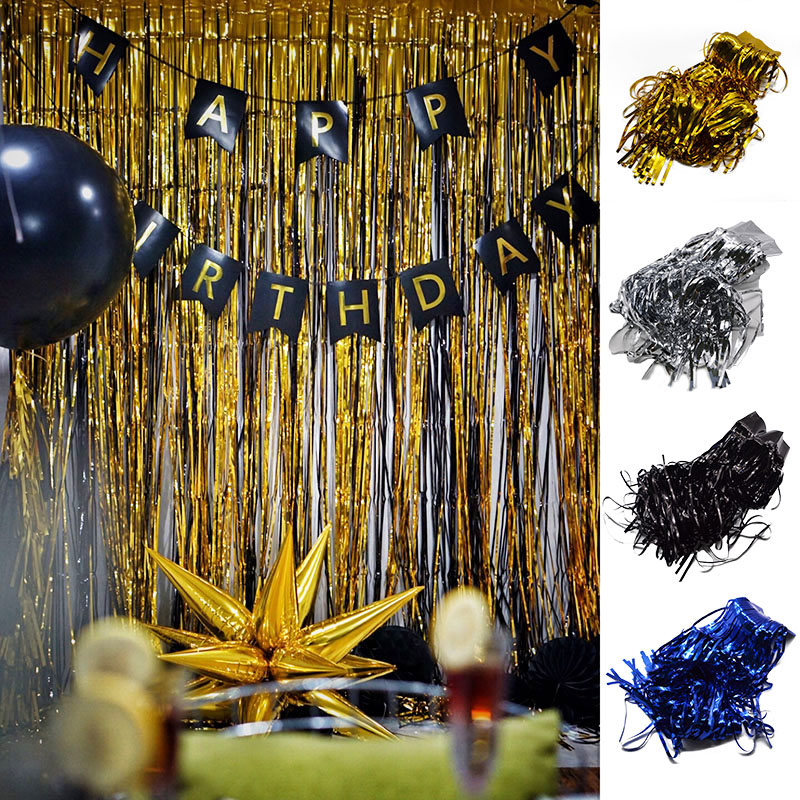 1M Gold Silver Party Decoration Shimmering Foil Fringe Tinsel Door Curtain Wedding Birthday Photo Backdrop Supplies