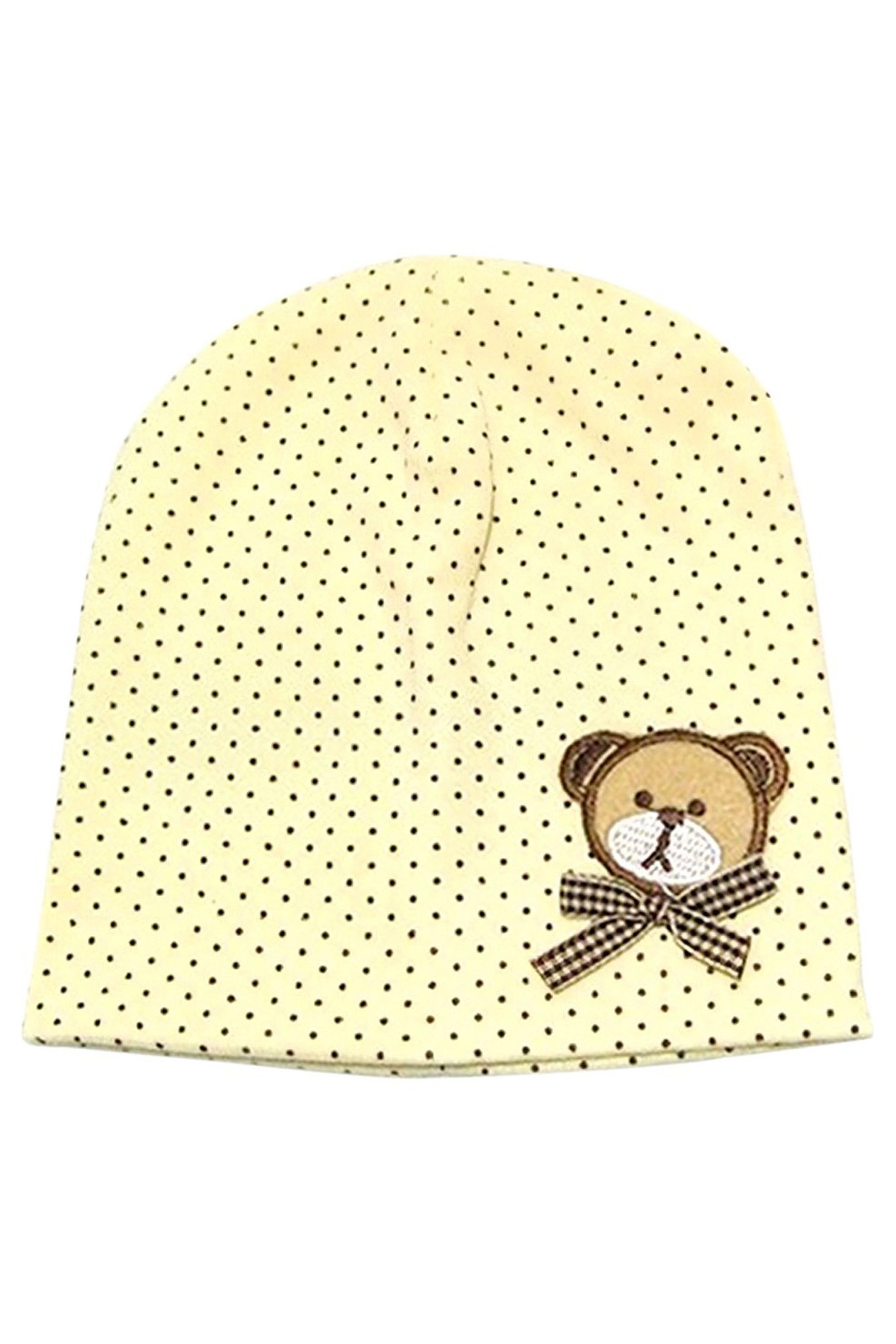 Hot Baby Boys Winter Cap Dot Bear Cotton Blended Hat Kids Costumes & Accessories yellow