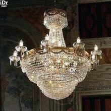 Роскошные роскошные золотые люстры, Металлическая лампа для холла, коридора, хрустальная лампа для отеля, лампа 100 см Ш х 107 см в