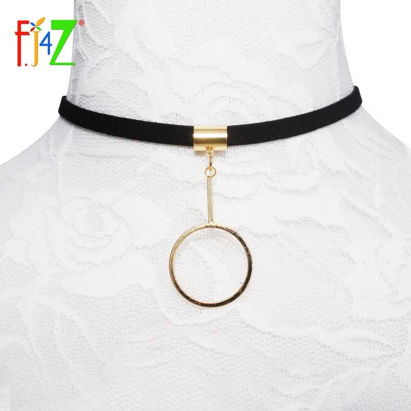 Clearance sale Fashion Design Golden Metal Opening Circle Stick Velvet Leather False Collar Chokers Necklaces Pendants For Women