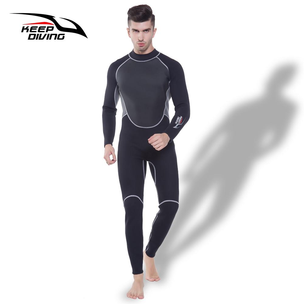 Держать Дайвинг Профессиональный 3 мм неопреновый гидрокостюм цельный всего тела для Для мужчин подводное погружение серфинг подводное пл...