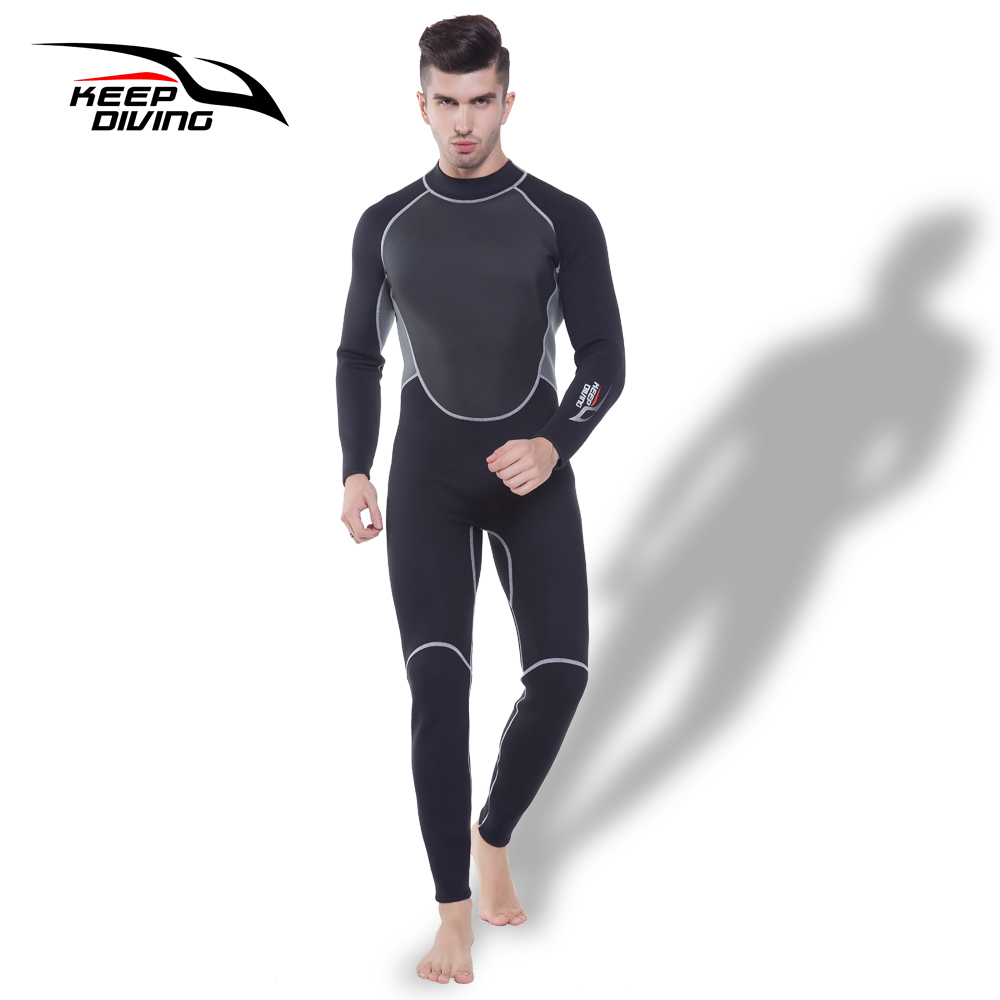 KEEP DIVING Professional Neoprene 3MM Wetsuit One Piece Full body For Men Scuba Dive Surfing Snorkeling Spearfishing Plus Size-in Wetsuit from Sports & Entertainment