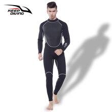 לשמור צלילה מקצועי Neoprene 3MM חליפת צלילה מקשה אחת מלא גוף לגברים צלילה צלילה גלישת שנורקלינג Spearfishing בתוספת גודל