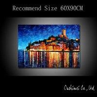 Handgemaltes Ölgemälde Venedig Landschaft Hängen Gemälde Modernen Gebäude Seascape Bild Für Wohnzimmer Dekor Leinwand Malerei