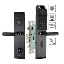 생체 인식 지문 도어 잠금 장치 스테인레스 스틸 열쇠가없는 스마트 잠금 지문 + 암호 + rfid 카드 + 키 잠금 해제 방법 홈 호텔 사용