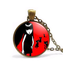 Steampunk Fashion Emily the Strange Colar Longo Gothic Necklace Emo Pendant Bronze silver chain vintage women Jewelry Doctor who(China)