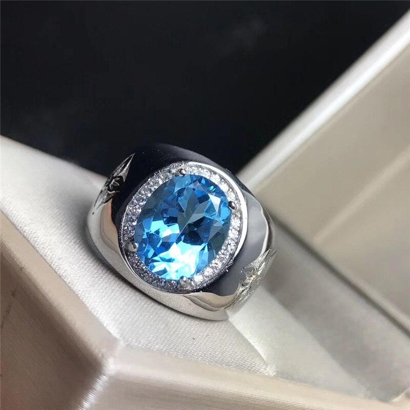 ธรรมชาติ Topaz หิน Chunky Silver 925 แหวนผู้ชาย 100% 925 เงินสเตอร์ลิงธรรมชาติหินสีฟ้าเครื่องประดับบุรุษที่มีใบรับรอง-ใน ห่วง จาก อัญมณีและเครื่องประดับ บน   2