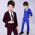 Children Autumn Spring Wedding Suits Sets Flower Boys Blazer pants 2pcs Outfits Kids School Performance Gentle Clothes