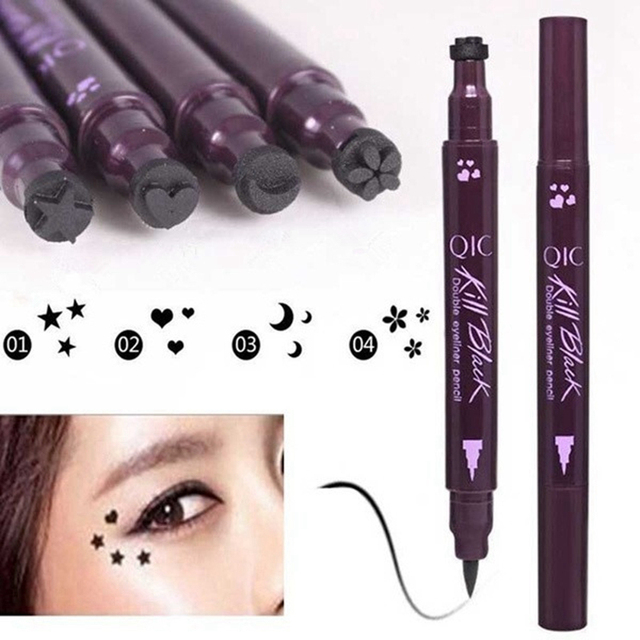 Double-head Black Liquid Eyeliner Pencil Easy to Wear Makeup Star Heart Moon Flower Stamp Waterproof Mark Seal Tattoo Eye Liner