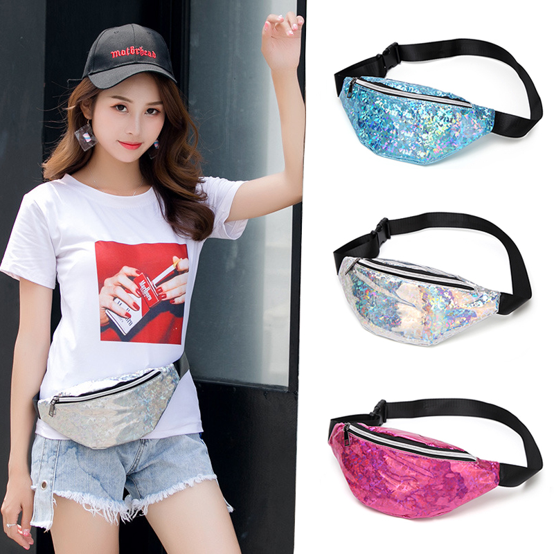 Sequins Women's Banana Waist Bag Fanny Pack Laser Belt Waterproof Waist Pack Shoulder Phone Chest Bag Pink Silver Bankan Bags 67