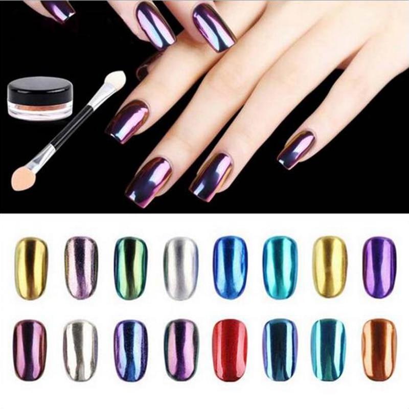 Brand New 1g / Box Magic Nail Glitter Metallo Cromato Paillettes - Manicure