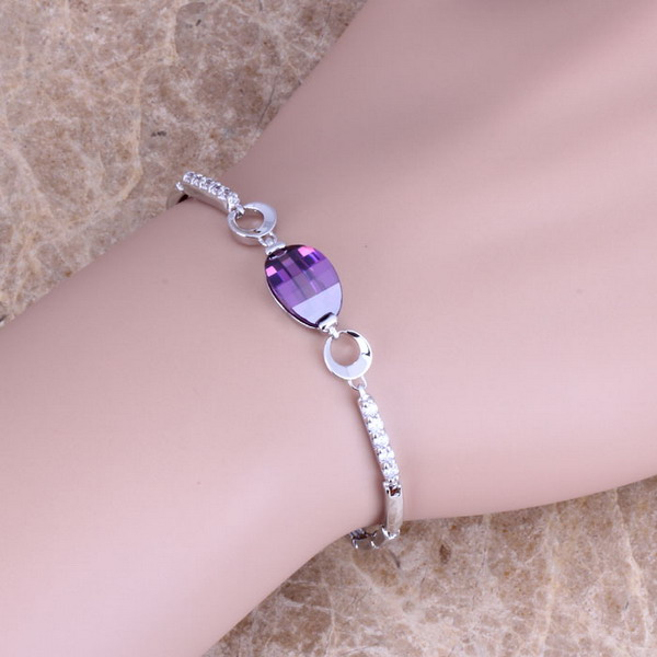 Unique Purple Cubic Zirconia White CZ 925 Sterling Silver Link Chain Bracelet 7 inch S0342 titanium steel link cubic zirconia studded couple bracelet
