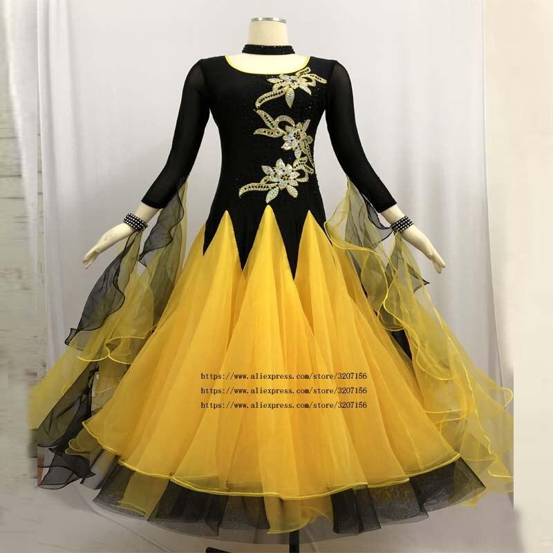 Femme robe de salon valse danse robe foxtrot espagnol flamenco robe danse porter vert danse vêtements standard social robe