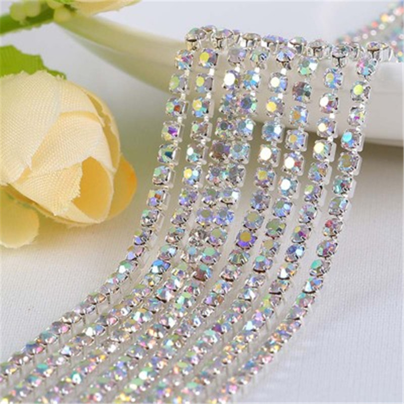 5Yards SS12 2/2.5/3mm AB Clear Crystal Rhinestone Cup Chain Trimming In Silver Base For Craft Sew On Diy Necklace Jewrly Making