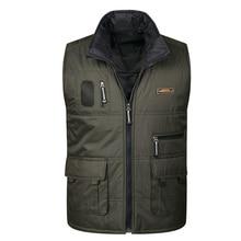 Brieuc Mens new multi-pocket vest mens double-sided wear down cotton