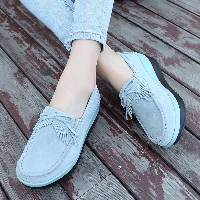 Women Flats Thick Soled Platform Shoes   Leather     Suede   Women Casual Sneakers Fringe Slip On Shoes Creepers 2019 Autumn