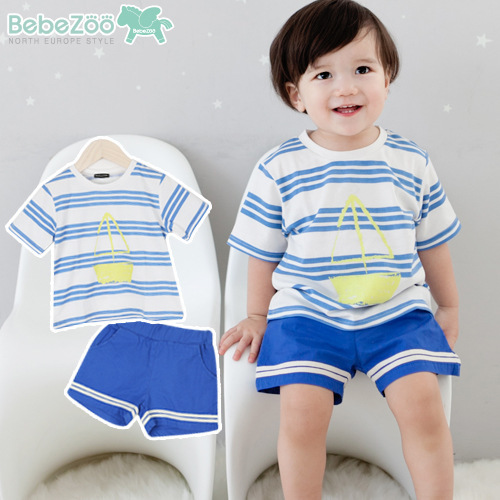 2PCs per Set New Little Boys Sailing Boat Pattern Print Navy Striped Tshirt and Shorts Free Shipping