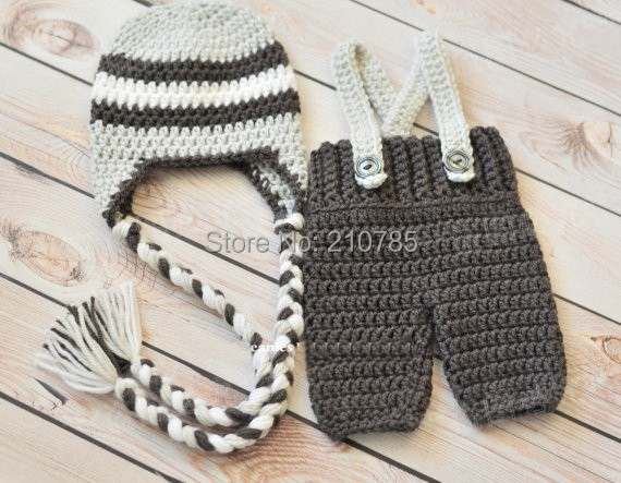 Free shipping,Crochet Baby Ear Flap Hat and Baby Pants with Suspenders Set - Newborn Photography Prop, Newborn, Baby Shower Gift
