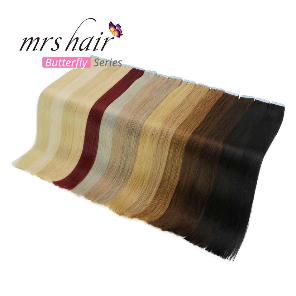 "MRSHAIR 12"" Tape In Human Hair Extensions Straight Machine Made Remy Hair On Adhesives Tape PU Skin Weft Invisible 20pcs"