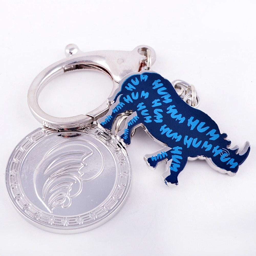 Feng Shui Bleu Rhinocéros Anti Cambriolage Amulette Porte-clés charme ou sac à main suspendu W1071 rhinocéros porte-clés