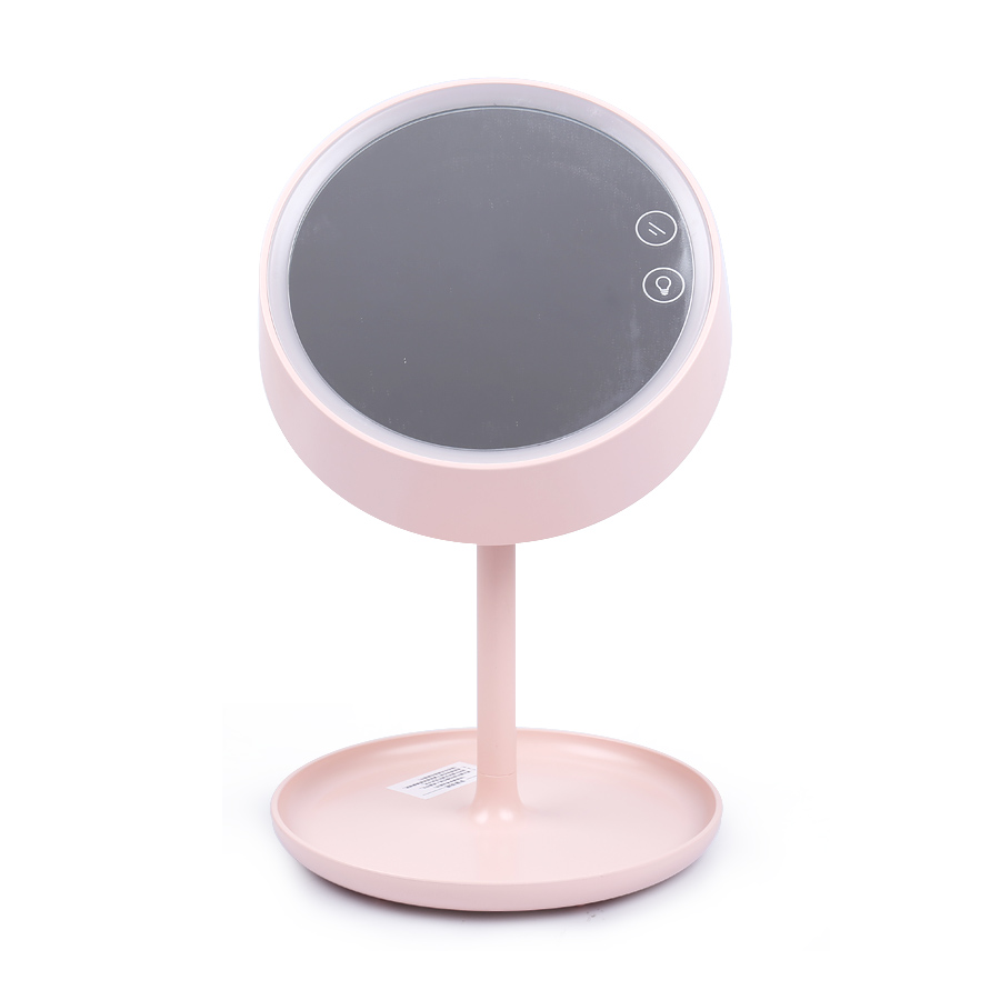 LED Touch Screen Vanity makeup Mirror With LED Lights USB Chargeable 3 in 1 Table Colorful ...