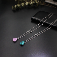 Crystal glass Fusion stone Water Drop Pendant Necklaces with Milky green or pink cubic zirconia fashion jewelry for women Gifts