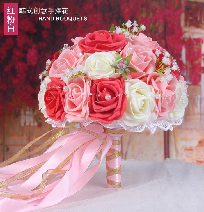 Vrouw bruidsboeket pioenrozen voor Bridals houder bloemen - Bruiloft accessoires